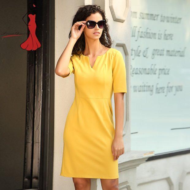 офисное платье желтое футляр рукав короткий