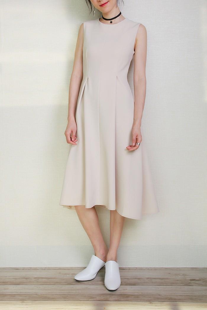 офисное платье бежевое миди без рукава ткань брючная