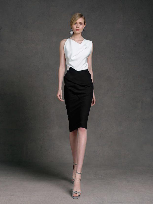 офисное платье черный низ белый вверх без рукава