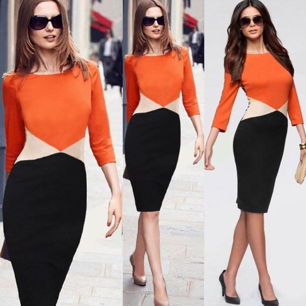 офисное платье оранжевый верх черный низ миди по фигуре