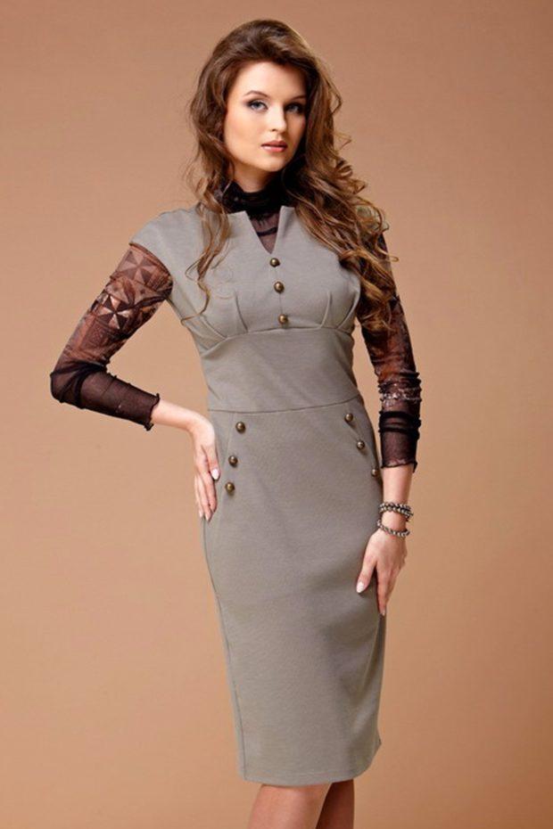 офисное платье серое без рукава по фигуре с пуговками