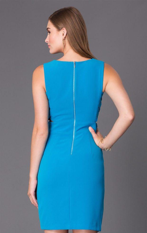офисное платье синее по фигуре на змейке