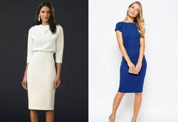 офисное платье белое рукав 3/4 синее миди рукав короткий