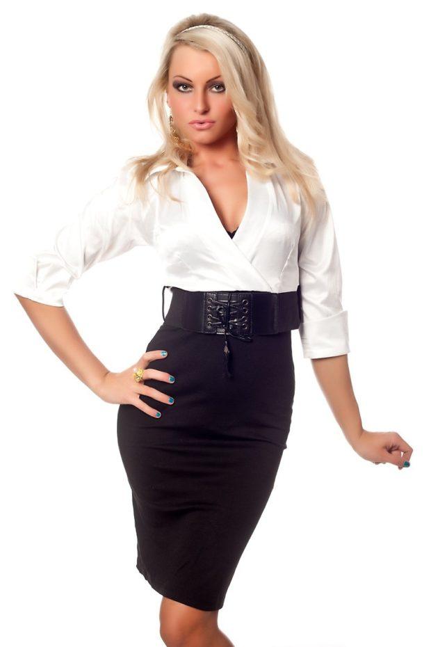 офисное платье черный низ белый верх рукав 3/4 с поясом