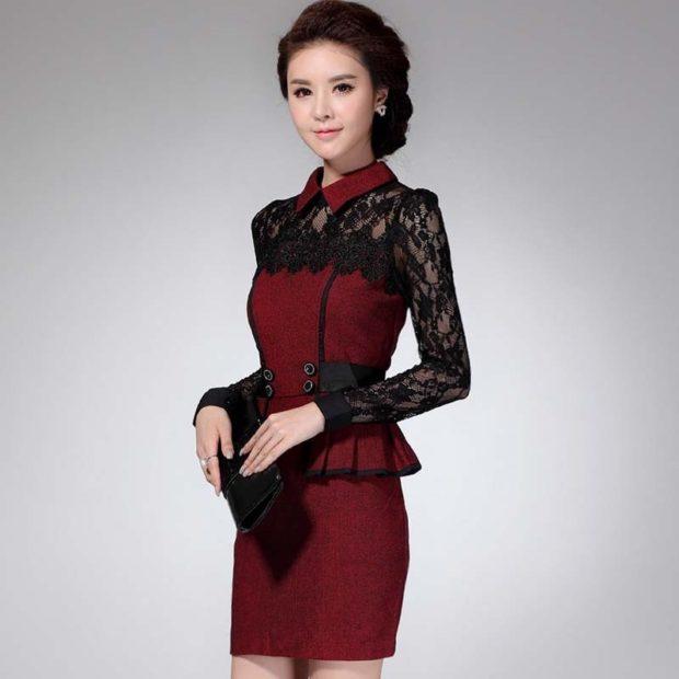 платье для офиса рукав длинные гипюровый красное