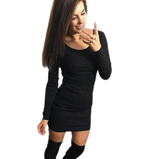 платье для офиса черное рукав длинный