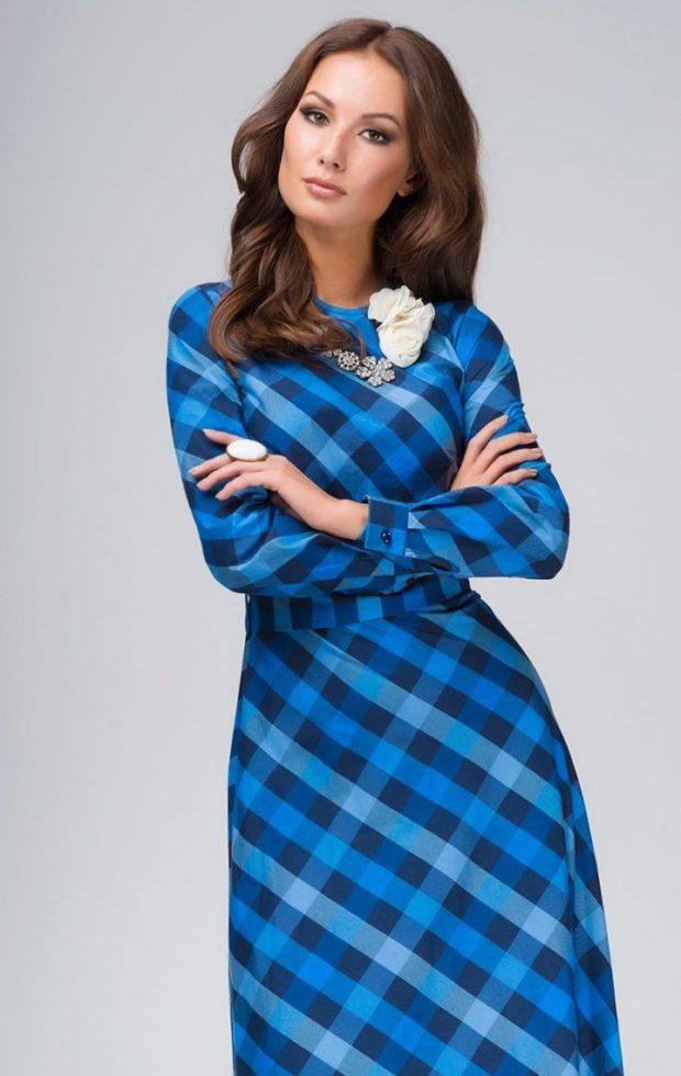 платье для офиса рукав длинные клетка синяя