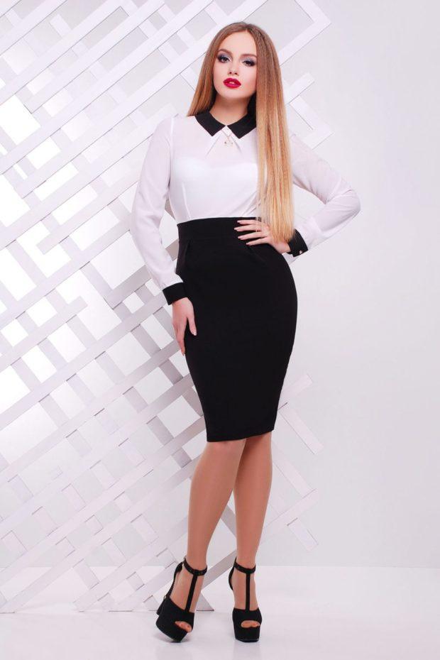 офисное платье 2018-2019: черный низ белый верх по фигуре