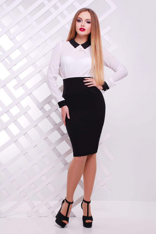 офисное платье черный низ белый верх по фигуре