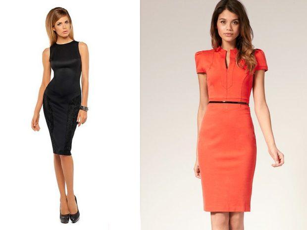 офисное платье 2019-2020: черное без рукава по фигуре красное с коротким рукавом