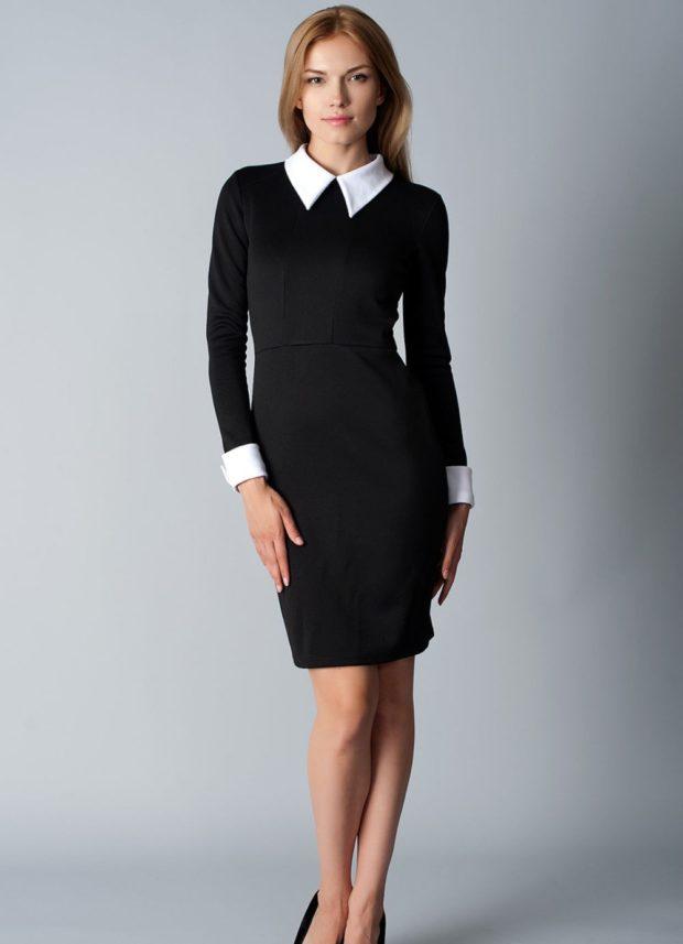 офисное платье с воротничком черное рукав длинный по колено