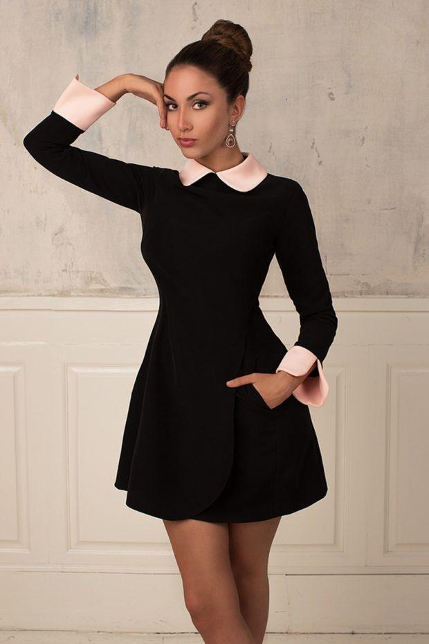 офисное платье с воротничком короткое пышная юбка рукав длинный