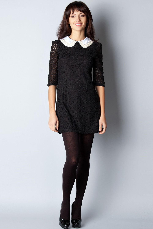 офисное платье с воротничком черное короткое рукав 3/4 воротник белый