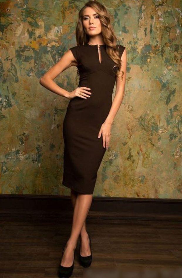 офисное платье 2019-2020: миди черное без рукава