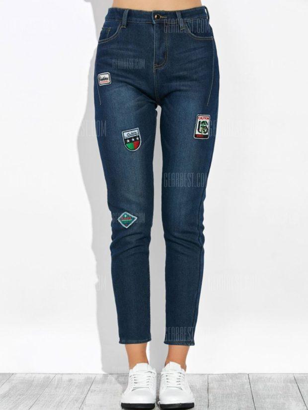 джинсы с заплатками 2018-2019