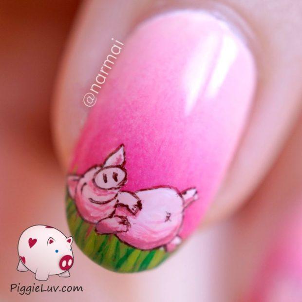 маникюр новый год свинья