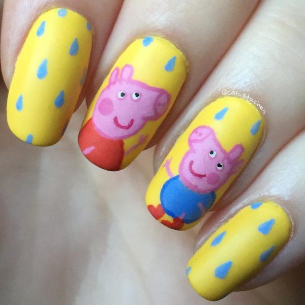 дизайн ногтей на новый год рисунок свинья