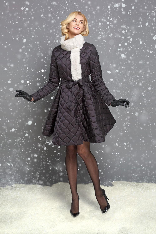 пуховик платье черный с меховой отделкой