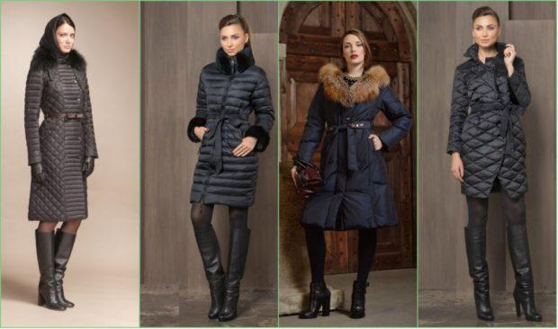 пуховики женские зимние 2019 2020: черный стеганый с мехом синий с капюшоном черный с поясом