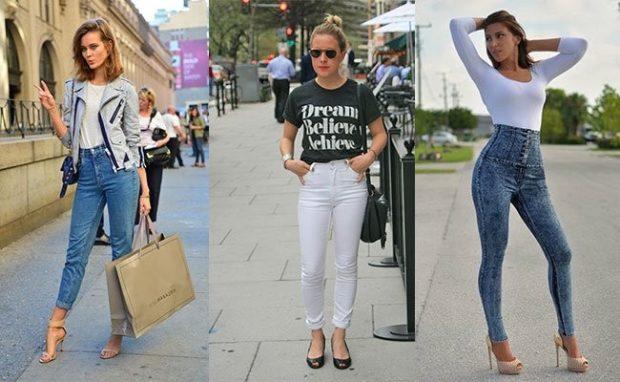 с чем носить джинсы: синие короткие под жакет