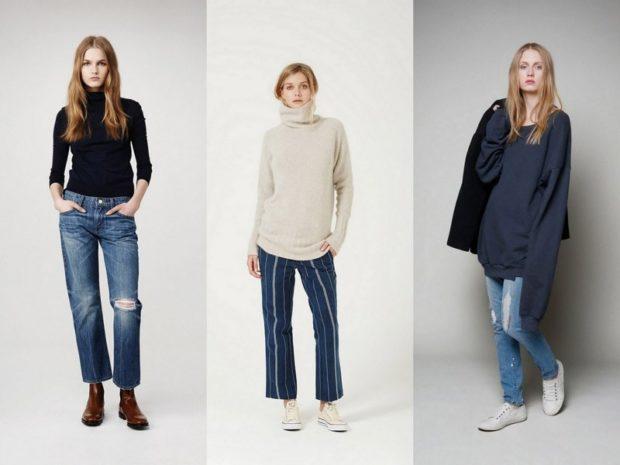 с чем носить джинсы: синие короткие под свитер