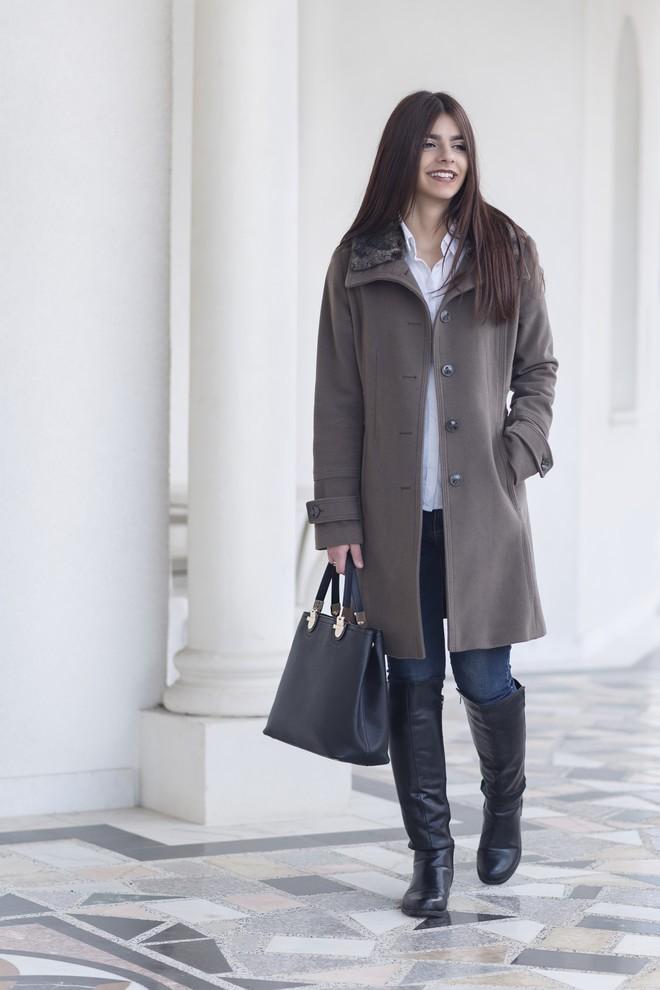 джинсы под пальто коричневое классическое