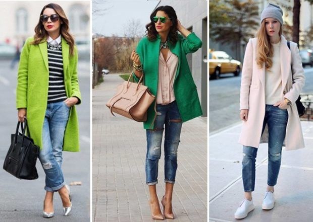 с чем носить джинсы: под пальто
