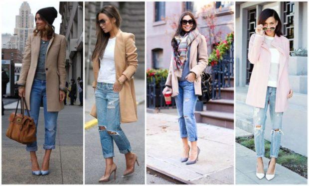 с чем носить джинсы под пальто