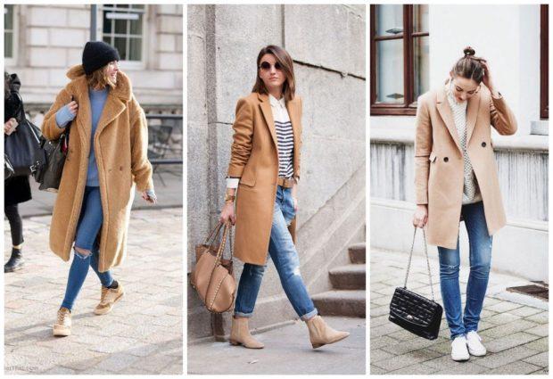 с чем носить джинсы: под пальто коричневое