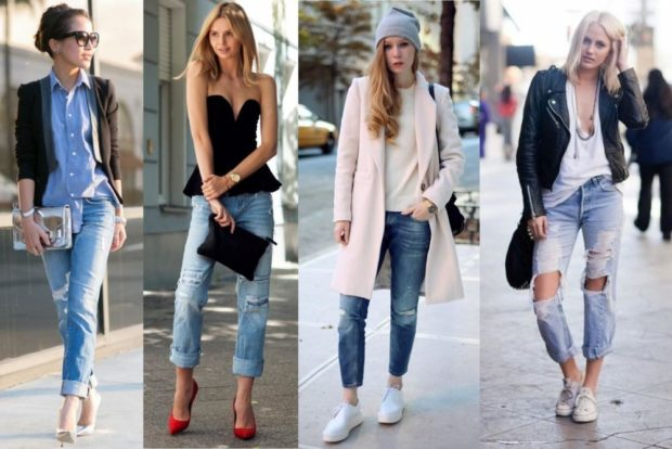 с чем носить джинсы: синие под пиджак короткие
