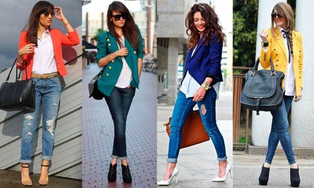 с чем носить джинсы под пиджак