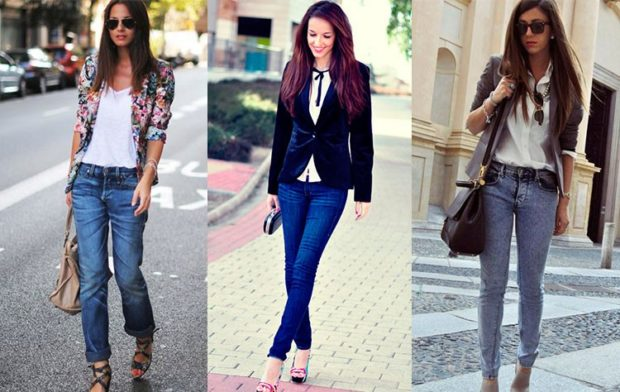 с чем носить джинсы: под пиджак цветной