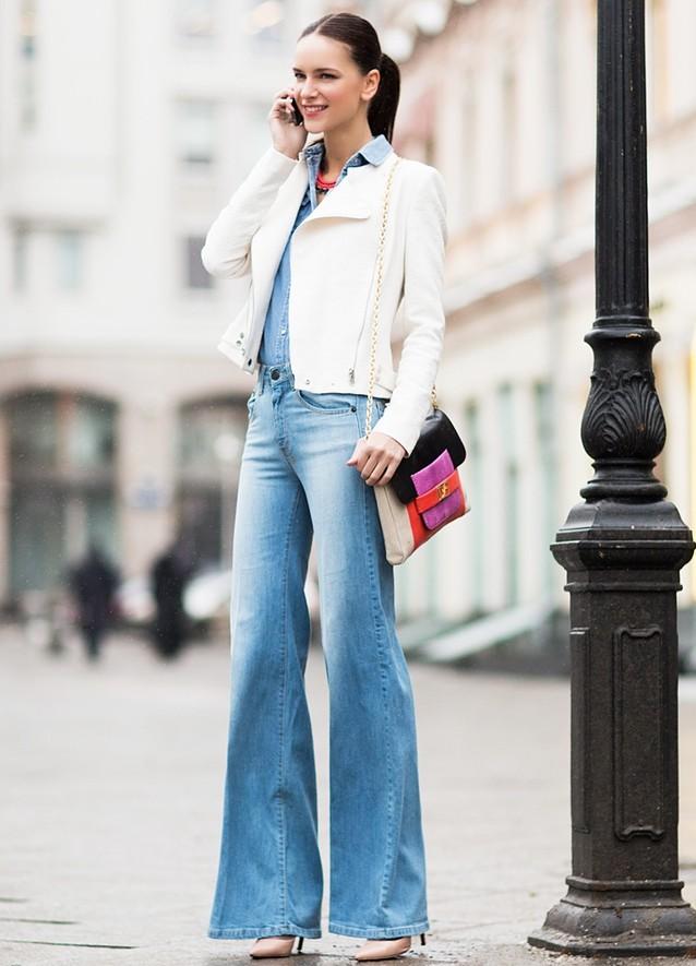 джинсы под пиджак белый короткий