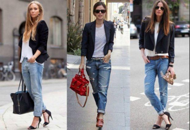 с чем носить джинсы: синие короткие под пиджаки черные