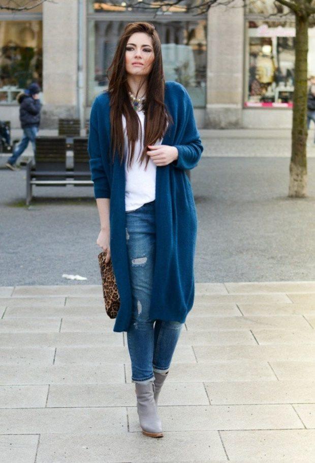 с чем носить джинсы: под кардиган