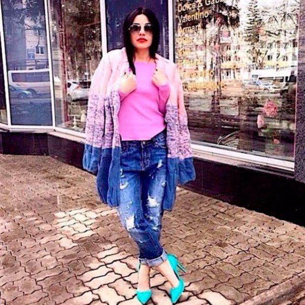джинсы под кардиган двухцветный
