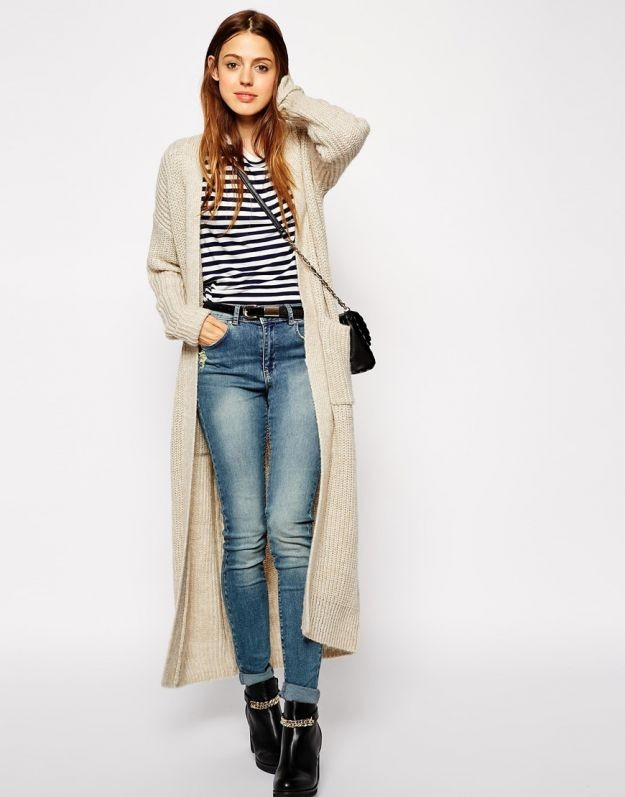 с чем носить джинсы под кардиган