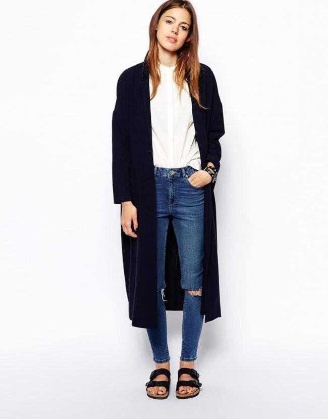 джинсы под кардиган синий макси с длинным рукавом