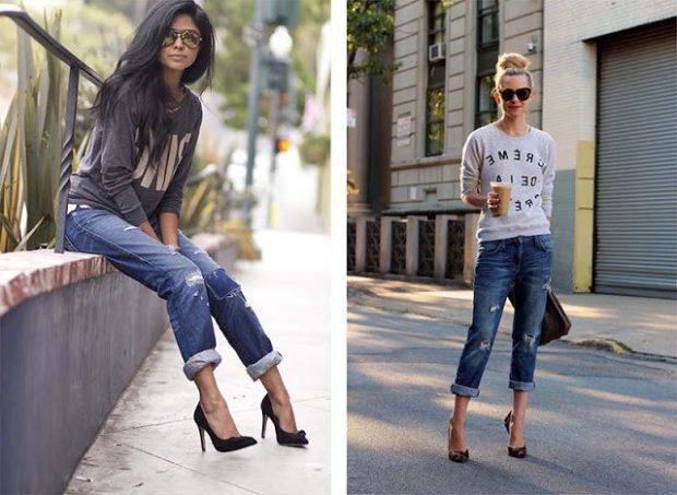 с чем носить джинсы: синие короткие под кофты