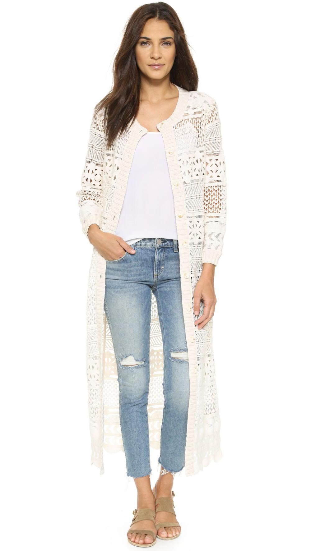 джинсы под кардиган ажурный белый длина макси