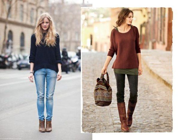 с чем носить джинсы: под свитер свободного кроя