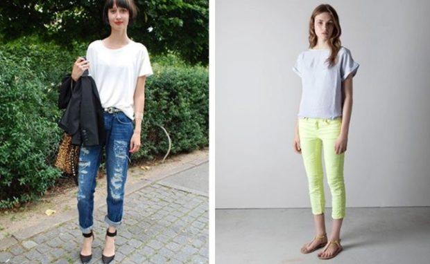 с чем носить джинсы: под футболку белую серую оверсайз