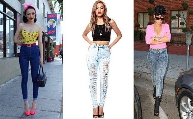 с чем носить джинсы: под топ бюстье