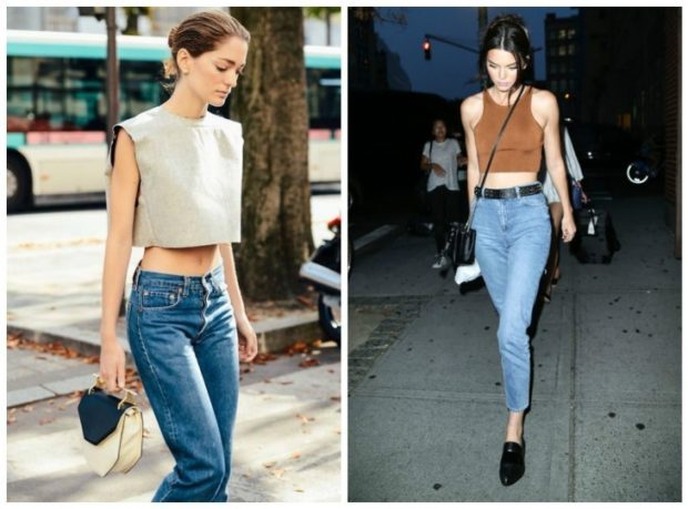 с чем носить джинсы: под топ серый коричневый