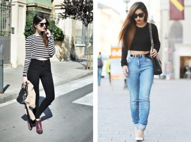 с чем носить джинсы: под топ с рукавами