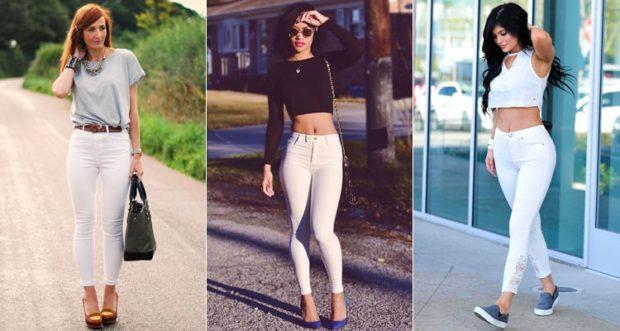 с чем носить джинсы: под топ черный