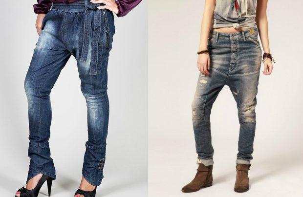 с чем носить джинсы: синие под каблуки