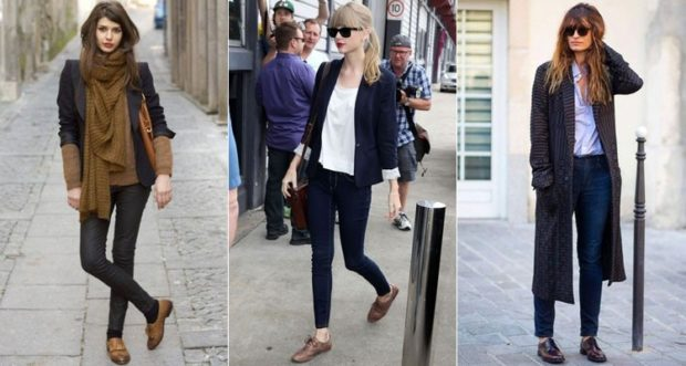 с чем носить джинсы: под туфли коричневые низкий ход
