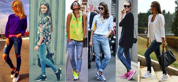 с чем носить джинсы: под кроссовки