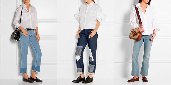 джинсы под туфли на низком ходу коричневые черные